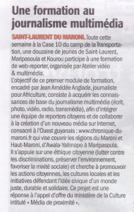 article paru dans le journal France Guyane du 20 novembre 2015